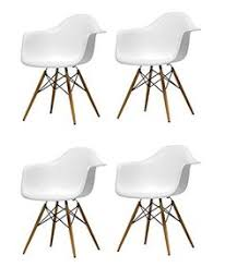 mid century modern dining room inspiration set of 4 eames style daw model white plastic armchair with wood eiffel legs ariel