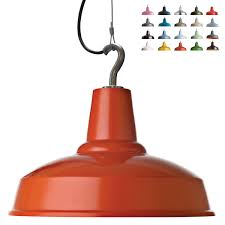 image 1 bright industrial pendant luminaire with steel cable and hook lacquered in burnt orange