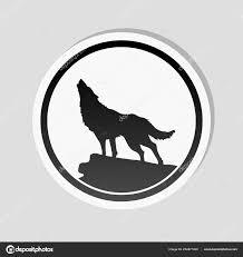 Vlk Jednoduché Ikony Styl Nálepka Bílým Okrajem Jednoduchým Stínem