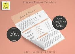 Elegant Ms Word Resume Template 3 Pages By The Template Cafe