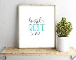 inspirational frames for office. Hustle, Rest, Repeat Wall Art, Office Dorm Printable, Inspirational Work Print, Gray Frames Digital Print For
