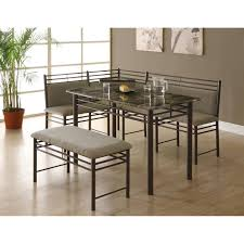 three piece dining set: cappuccino marble bronze metal  piece dining set