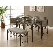 three piece dining set: cappuccino marble bronze metal  piece dining set