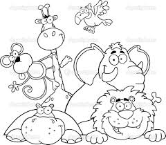 Small Picture Safari coloring page Outlined Jungle Animals Stock Photo