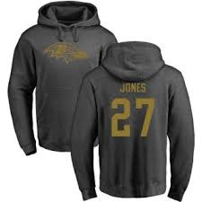 Hoodie Pullover Jones Cyrus One Line Color Ash Baltimore Ravens Pro By Men's
