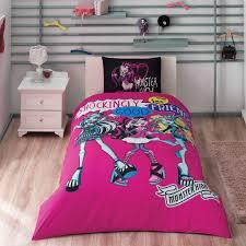 monster high pink 3 pcs twin single size 100 cotton duvet cover set bedding linens