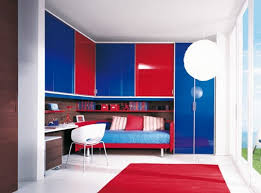 Majestic Kids Room With Blue And Red Cabinet Color White Desk And White  Chiar With Red Rug And Big Window Image