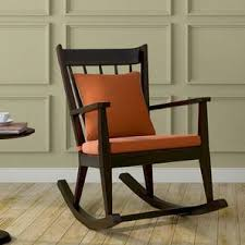 wooden rocking chair. Atticus Rocking Chair (Mahogany Finish, Amber) By Urban Ladder Wooden
