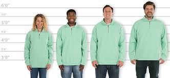 Custom Ink Size Chart Customink Com Sizing Line Up For Comfort Colors Quarter Zip