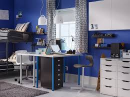 ikea bedroom office. A Bedroom For Twins Furnished With Two Desks Combined Drawer Units On Castors And Ikea Office