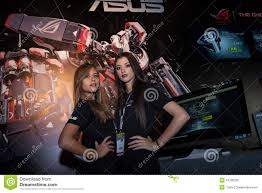 event hostess stock photos images pictures 176 images two beautiful hostesses at games week 2013 in milan royalty stock image