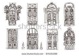 old doors collection hand drawn sketch of diffe doors on the white background