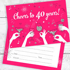 40th Birthday Invitations 40th Birthday Party Invitations Cheers To 40 Years Ladies Pack 10