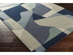 surya forum rectangular teal navy denim area rug