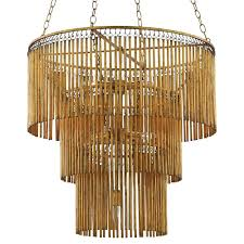 ware modern classic gold 3 tier 7 light metal fringe chandelier kathy kuo home