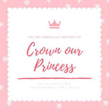 cordially invited template pink and white sparkle crown princess baby shower invitation you