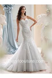 fit and flare strapless ivory tulle lace beaded wedding dress