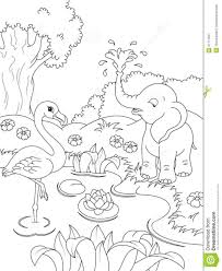 coloring pages nature coloring book pages nature s page flamingos elephant kids 51711927 for 1048 1280 4