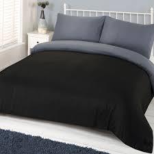 ords plain duvet cover set black grey