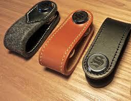 brown leather and wool felt key organizer by s key