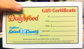 you can purchase a gift certificate in any amount for dollywood or dollywood s splash country okay what does that mean