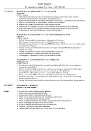 Sample Warehouse Management Resume Warehouse Management Resume Samples Velvet Jobs