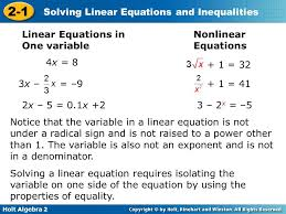solving linear equations and inequalities slide 3 impression diverting holt algebra 2 1 one variable