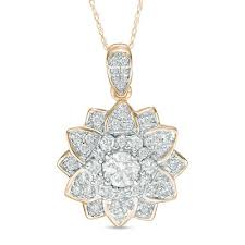 ct t w diamond mandala flower pendant