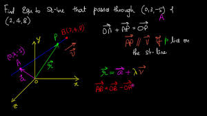 equation to a straight line passing through 2 points in 3d