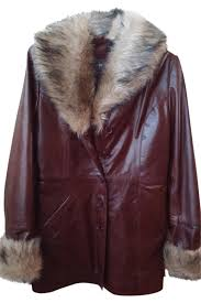 wilsons leather faux fur coats brown leather jacket image 0