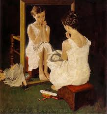 girl at the mirror by norman rockwell