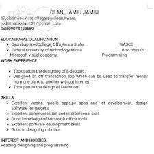 Mobile Developer Resume Mobile Developer Cv In Lagos Island Computing It Cvs Olani