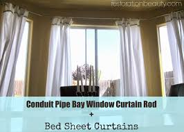 Conduit Pipe Bay Window Curtain Rod + Bed Sheet Curtains