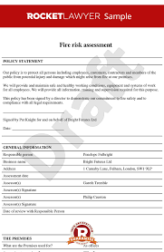 Assessment Example Free Fire Risk Assessment Template - Fire Risk Policy