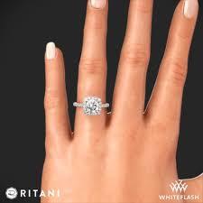 ritani french set cushion halo diamond band engagement ring 4693