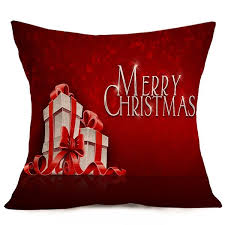 merry gift sofa cushion throw pillow cover deep red