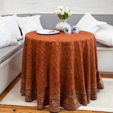 fl paisley motif round tablecloth rust