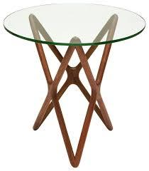 plain table centauri modern classic glass top wood mid century base side table on u