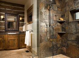 stone shower surround log veneerpaneling slatestone shower walls with inset stone corner shelves sconces surround mirror
