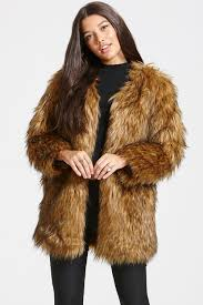 little mistress brown faux fur jacket
