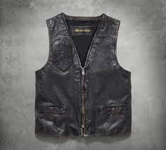 harley davidson men s iron distressed slim fit leather vest 98009 18vm