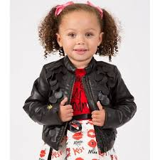 boboli girls black faux leather jacket