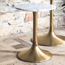 notting white marble top round side table with brass base