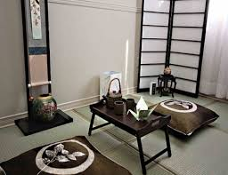Interior:Traditionla Japanese Style Interior Design With Black Coffee Table  And Two Pillow Floor On