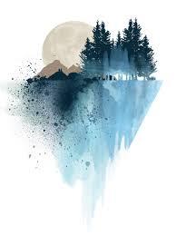 Etsy Art Blue Mountain Watercolor Art Print By White Doe Prints Https