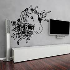image is loading horse wall decals flowers decal vinyl stickers horse  on horse wall art decal with horse wall decals flowers decal vinyl stickers horse art bedroom art
