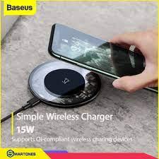 Bộ đế sạc không dây Baseus Simple V2 sạc nhanh công suất 15W , hỗ trợ chuẩn  sạc Qi cho iPhone , Airpods Samsung.. - Đế Sạc Không Dây