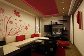 For Living Room Wallpaper Red Flower Accent Wallpaper For White Wall Living Room Interior