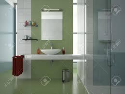 Modernes Badezimmer Mit Grün Weiß Und Blau Fliesen Lizenzfreie
