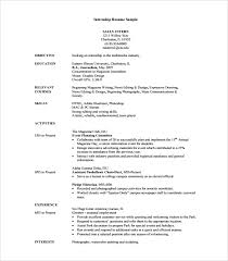 8 Sample Internship Resume Templates For Free | Sample Templates